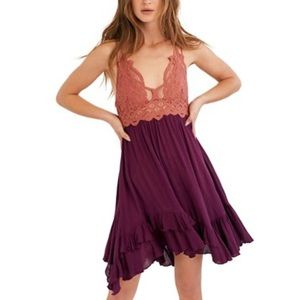 NWT Free People Adella Mini Dress Copper Combo